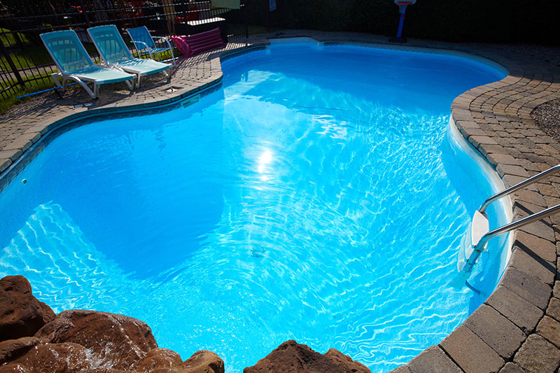 swimming pool heated by hot water heat pump